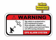 WARNING GPS ALARM SYSTEM VEHICLE EQUIPPED, DON'T STEAL MY CAR STICKER/DECAL
