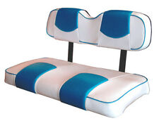 EZ-GO TXT Golf Cart Deluxe™ Seat Covers-Fr and Rear -Staple On(Wh&Cancun Blue)