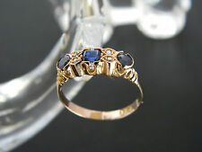 VINTAGE TO ANTIQUE 15CT ROSE GOLD SAPPHIRE AND DIAMOND RING! VALUATION: $1,650