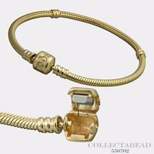 Authentic Pandora 14kt Gold Bracelet With14kt Gold Pandora Lock 9.1 550702
