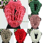 Fashion Women Stripes Tassel Knit Infinity Cowl Scarf Soild Color Winter Scarves