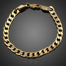 18K Yellow Gold Filled Women Men Unisex Bracelet Curb Chain Link Bangle Jewelry