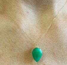 4ct Zambian Emerald pear cut 16mm pendant solid 14k yellow gold necklace