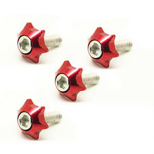 4x Motorcycle Car Truck License Plate Frame Bolts Screws Star Fasteners 6mm Red