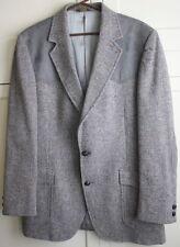 44 Long Pendleton Western Gray Tweed Wool Leather Mens Jacket Sport Coat Blazer
