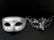 Couple Silver Metal Carnival and Glitter Venetian Masquerade Prom Party Mask