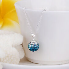 925Sterling Silver Fashion Crystal Ball Pendant Chain Necklace ZBN057+BOX