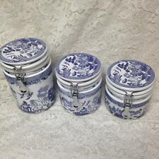 Vintage, Beautiful, Heritage Mint,  3-pc Blue Willow Air Tight Canister Set