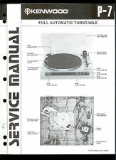 Original Factory Kenwood P 7 Turntable Record Player Service Manual