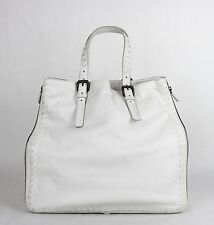 BOTTEGA VENETA Milk White Leather Zip Around Tote Bag Woven Detail 261226 9012