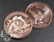 "1oz Copper Bullion Round - ""Stegnsaurus Dinosaur Series"" Design"