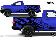 Vinyl Decal HEMI Wrap for Dodge Ram 09-14 1500/2500/3500 SHORTBOX - Matte Black