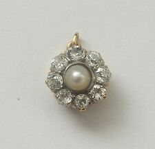 Antique 18ct Gold Cushion Cut Diamond Platinum Pearl Pendant