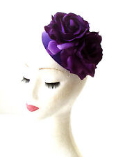 Purple Rose Flower Pillbox Hat Fascinator 1950s Rockabilly Vintage Hair 40s 1836