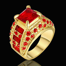 Noble Ruby Red Garnet 10KT Yellow Gold Filled Wedding Ring Women's Ring Size 6
