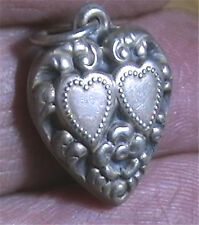 Vintage 1940's Sterling Silver Repousse Puffy Heart Charm Hearts Forget Me Not