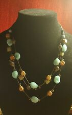 FABULOUS VINTAGE MIRIAM HASKELL STYLE MULTI-STRAND GLASS STONE NECKLACE