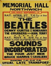 THE BEATLES Concert Window Poster Town Hall Northwich 1963 - Preprint
