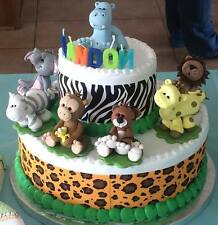 Cake Topper Jungle Animals Baby Shower or Birthday Set of 7