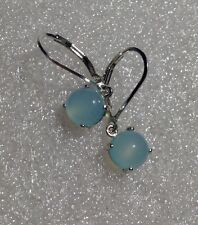 925 Sterling Silver Cabochon Aqua Blue Chalcedony Lever Back Earrings 2.95CTW