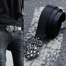 ByTheR Men's Fashion Skull Tomb Shape Decorated Custom Buckle Leather Belt N