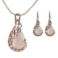 Neu Damen Mode Pfau Kristallrhinestone Halsketten Anhänger Ohrring Schmuck Set