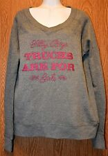 Womens Gray & Pink Sparkly GC Country Girls Sweat Shirt Size Medium NWT NEW