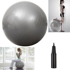 "Silver Yoga Ball 29"" 75cm Exercise Pilates Balance Gymnastic Fitness W/Air Pump"