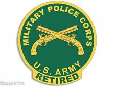 """ARMY RETIRED MILITARY POLICE CORPS 4"""" BUMPER CAR STICKER DECAL MADE IN USA"""