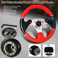 For 1994-2004 Ford Mustang 320MM Red / Carbon Leather Steering Wheel + Adapter