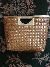 KATE SPADE TORTOLA Kei Wicker Straw And Leather Bag Gold Tote with dust bag
