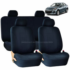 SOLID BLACK DOUBLE STITCH SEAT COVERS 8PC SET for MAZDA 3 5 CX-9