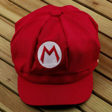 Red Mario Baseball Cap Super Mario Bros Adult Size M Cap Hat Costume FT