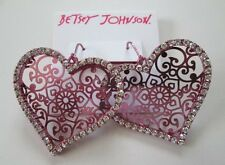 ❤️Betsey Johnson Pink Filigree Heart Earrings Crystals Party Collection NWT $45