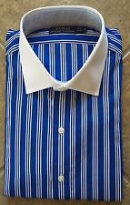 Polo Ralph Lauren Dress Shirt 15.5 32/33 Royal Striped w/White Collar $98 NWT