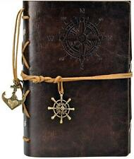 GENUINE ~ COFFEE BROWN ~ NAUTICAL LEATHER TRAVEL JOURNAL~ LEATHER TIE ~ NEW