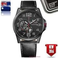 NEW TOMMY HILFIGER MENS FREDERICK WATCH ALL BLACK STEEL & LEATHER CHRONO 1791005