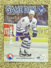 2002-03 St. John's Maple Leafs AHL Morgan Warren cover Vol 12 No 3 game program