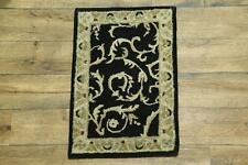 Classic Traditional Floral Black 2x3 Oushak Agra Oriental Area Rug Wool Carpet