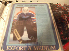 ANDY MOOG EDMONTON OILERS  AUTOGRAPHED 8.5 X 11 EXPORT A MAGAZINE PAGE