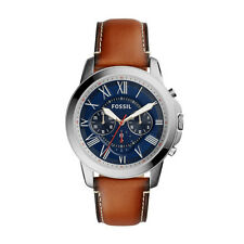 """Fossil FS5210 """"Grant"""" Chronograph Blue-Dial Brown-Leather Strap Watch"""