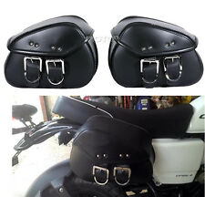 Black Motorcycle Saddle Sissy Bar Tool Bag Luggage fit Chopper Bobber Honda