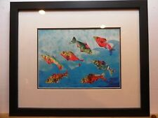 FISH PRINT MATTED & FRAMED 14x17 inches. Created by my son.