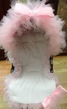 PRAM PUSHCHAIR FRILLY PINK BLING BOW HOOD TRIM - UNIVERSAL - STUNNING - ROMANY