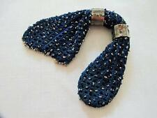 ANTIQUE VICTORIAN CUT STEEL BEADED BLUE KNITTED MISERS STOCKING PURSE c1840