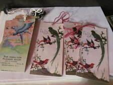 9 Vintage Tally Cards Bird Pictures Bookmarks Rutgers Oil Co Hamilton Flower