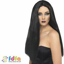 LADIES LONG BLACK 60cm WITCH MORTICIA WIG- womens halloween fancy dress costume