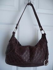 Elliott Lucca Purse Shoulder Bag Brown Genuine Leather Woven Perforated Soft WOW