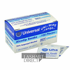 100 Alcotip Antibacterial Swabs Sachet Pads for Eyelash Extension Tweezers