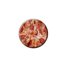 Cheese and Pepperoni Pizza Pie - Metal Lapel Hat Round Pin Tie Tack Pinback